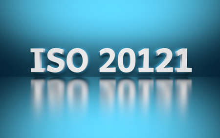 Intentational standard. Word ISO 20121 written in white bold letters standing on blue shiny reflective surface. 3d illustration.