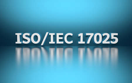 Intentational standard. Word ISOIEC 17025 written in white bold letters standing on blue shiny reflective surface. 3d illustration.