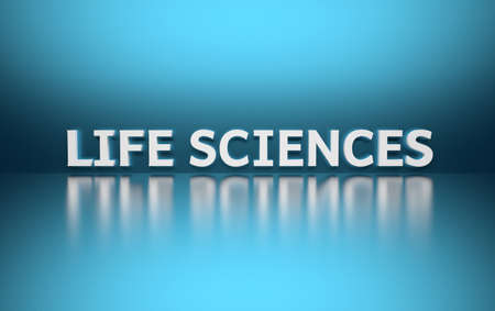 Word Life Sciences written in white bold letters standing on blue shiny reflective surface. 3d illustration.
