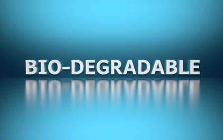 Word Bio-degradable written in white bold letters standing on blue shiny reflective surface. 3d illustration.
