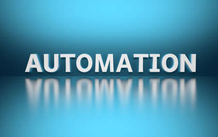 Word Automation written in white bold letters standing on blue shiny reflective surface. 3d illustration. Imagens
