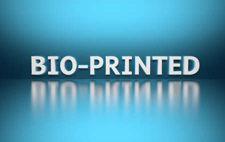 Word Bio-printed written in white bold letters standing on blue shiny reflective surface. 3d illustration. Stok Fotoğraf