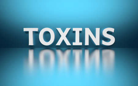 Word Toxins written in white bold letters standing on blue shiny reflective surface. 3d illustration. Stock Photo