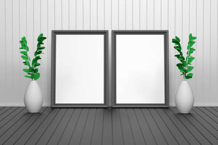 Two large carved picture frames with empty blank space. Frames standing on the black floor in interior studio with two vases and plants. 3d illustration. Banco de Imagens