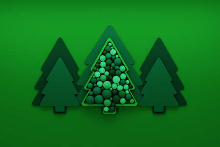 Illustration with green Christmas trees and decorative balls spheres on green background. 3d illustration.