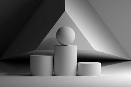 Abstract geometric composition with podiums and large ball sphere in white colour. 3d illustration. Imagens