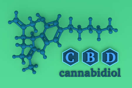 Illustration with CBD molecule and chemical structure in blue and green color. 3d illustration.
