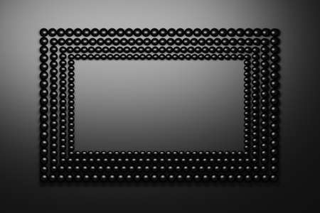 Black frame made of rows of small black shiny balls. Image with copy blank space. 3d illustration.