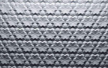 Repeating pattern with complex geometric hexagonal flat shapes. 3d illustration.