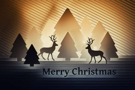 Vibrant orange gold Christmas greeting card with reindeers and outlines of Christmas trees and text Merry Christmas. 3d illustration. Banco de Imagens