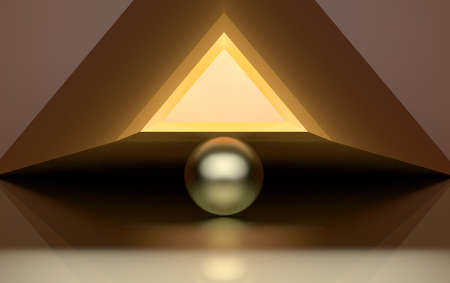 Large golden triangle and golden sphere. Abstract illustration. 3D illustration.