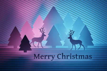 Christmas greeting card with Christmas trees, reindeers and text Merry Christmas colored with pink and blue. 3d illustration. Banco de Imagens