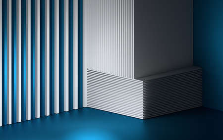 Abstract composition with repeating layers sheets stack on each other and colored with white and blue colors. 3d illustration.