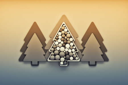 Colored with yellow and blue ilustration with Christmas trees and decorative balls spheres on yellow background. 3d illustration.