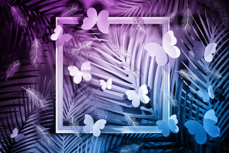 Tropical scene with leaves, butterflies, feathers and white frames in blue pink colors. 3d illustration. Banco de Imagens