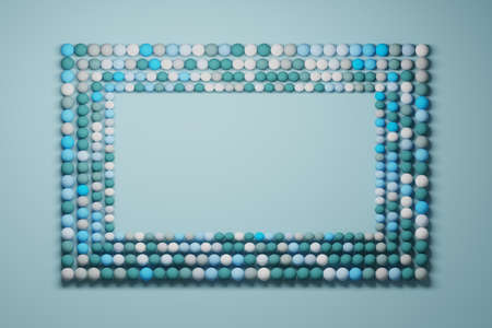 Frame made of rows of small randomly colored balls. Image with copy blank space in blue colors. 3d illustration.
