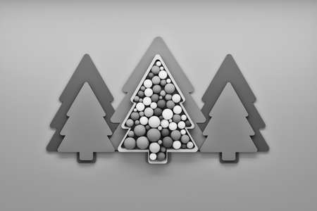 Illustration with Christmas trees and decorative balls spheres on gray background. 3d illustration. Banco de Imagens