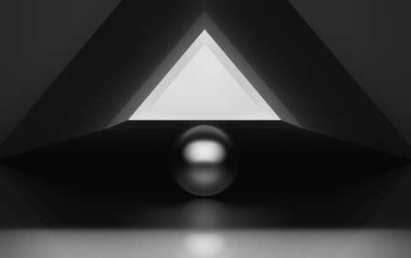 Black and white abstract illustration with triangle and sphere. 3D illustration. Banco de Imagens