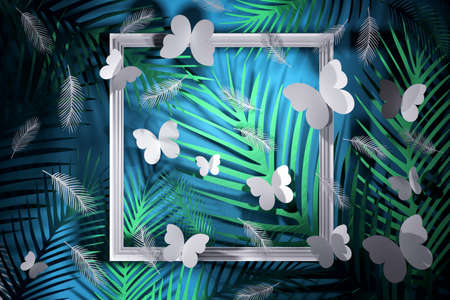 Tropical scene with leaves, butterflies, feathers and white frames in blue green colors. 3d illustration.