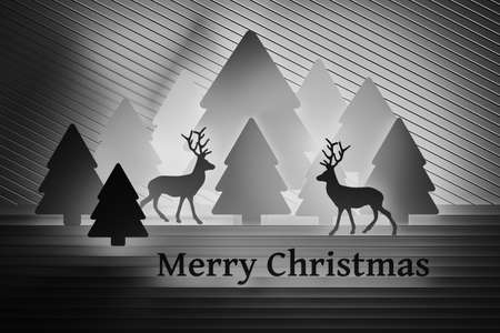 Simple black and white Christmas greeting card with reindeers and outlines of Christmas trees and text Merry Christmas. 3d illustration.