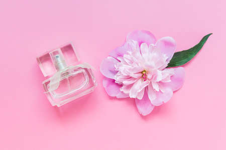Perfume bottle with pink pastel colored peony flower on pink background. Photo with empty blank space.