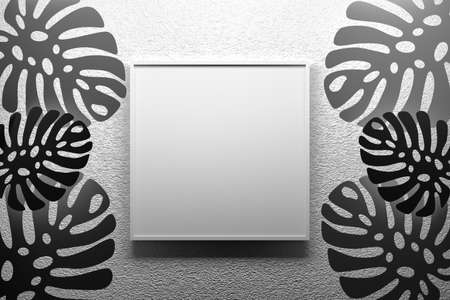 Presentation mock up square frame with empty blank space hanging on textured wall with Monstera tropical leaves in black and white colors. 3d illustration.