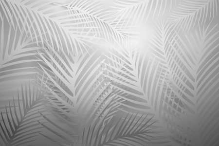 White pattern with large spiky plant leaves. 3d illustration.