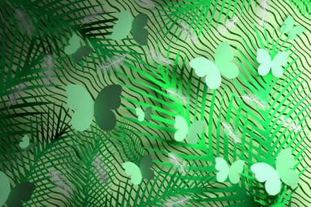 Tropical pattern with spiky leaves, feathers and butterflies on wavy green background. 3d illustration. Banco de Imagens