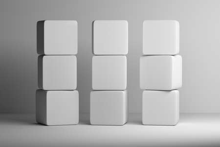 Set of nine white cubes with rounded edges stacked on each other on white background. Mock up template with empty blank space. 3d illustration.