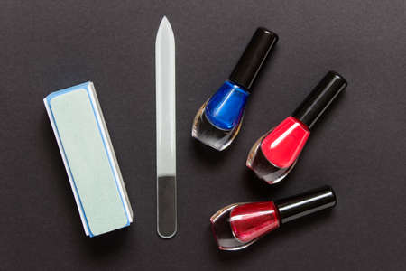 Nail polishes with nail correction manicure accessories buffer and glass nail files.