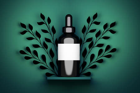 Single one large vape serum cosmetic black bottle packaging with white empty label on dark green background with foliage branche decoration. 3d illustration.