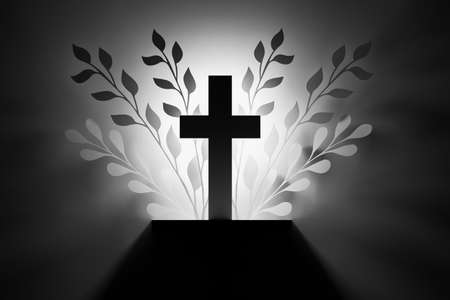 Black and white illustration with religious cross and foliage leaves silhouettes. 3d illustration. Stockfoto