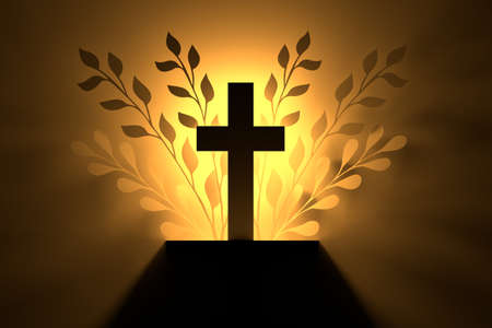 Religious cross with foliage leaves silhouettes in golden light. 3d illustration. Stock Photo
