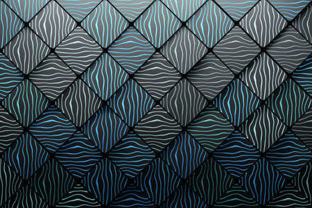 Pattern made of squares scales geometric shapes with blue wavy lines grooves. 3d illustration. Banco de Imagens