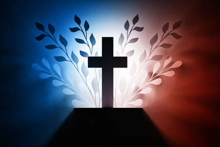 Illustration with religious cross and foliage leaves silhouettes in Blue red and white colors. 3d illustration.