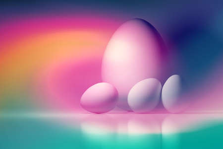 Four Easter eggs. One big and three small white eggs. Image tinted in vivid liquid pink yellow blue color gradient. 3d illustration. Imagens