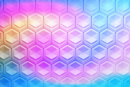Pattern with repeating structured hexagons. Image tinted with liquid flowing pink blue yellow gradient. 3d illustration.