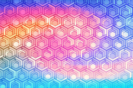 Vivid colorful pattern with hexagons and other primitive shapes tinted with liquid rainbow color. 3d illustration.