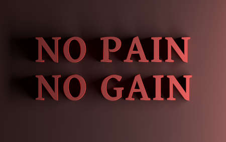 Simple motivational illustration with large bold red words No Pain No Gain. 3d illustration.