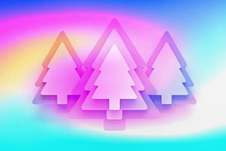 Simple background greeting card with layers of Christmas trees colored with liquid vivid gradient colors. 3d illustration. Reklamní fotografie