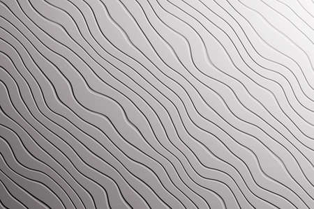 Trendy gray pattern texture with diagonal waves lines curves. 3d illustration.