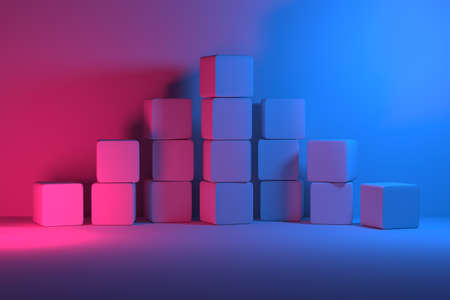 Pyramid made of plain cubes illuminated by pink and blue lights. 3d illustration.