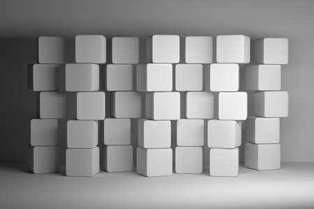 Stacks of many same size white boxes cubes. Mock up with five 5 columns and seven rows of cubes. 3d illustration. Reklamní fotografie