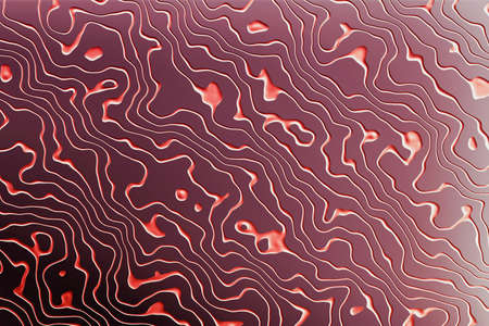 Textured pattern with RED grooves on dark purple surface. 3d illustration.