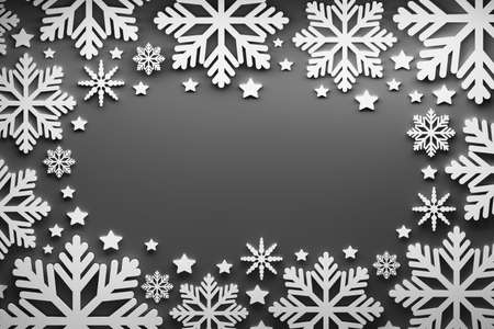 Christmas greeting card template with large white snowflakes and stars over black background. 3d illustration.
