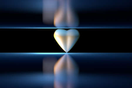 Single golden heart between two reflective mirror surfaces colored in dark blue neon color. 3d illustration.