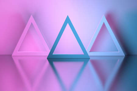 Three triangles in a room over reflective mirror surface. 3d illustration.