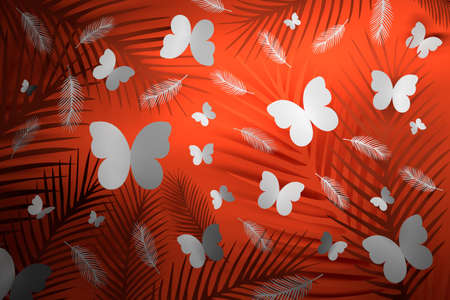 Tropical background with feathers and butterflies on red background. 3d illustration.