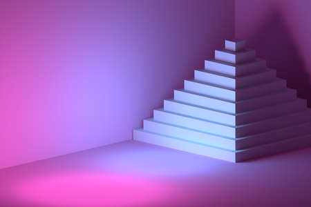 Large white multi layered pyramid indoors illuminated by pink blue light. 3d illustration. Reklamní fotografie
