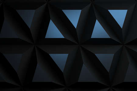 Modern pattern with extrea large repeating pyramids triangular geometric shapes in dark color with blue reflections. 3d illustration.